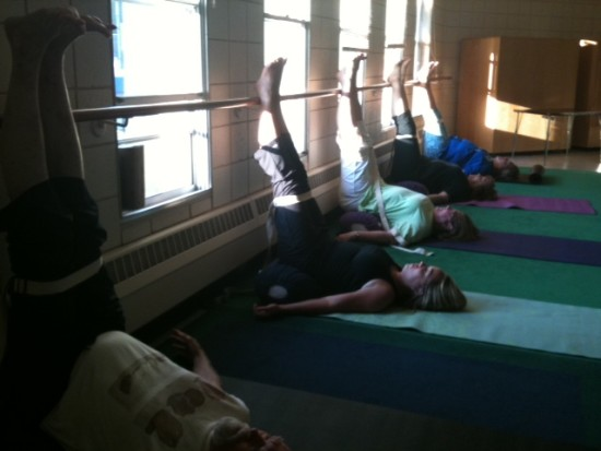 Natural lighting, ballet barre for Wed 12:30pm Therapeutic and 7pm all-levels.