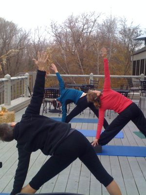 triangle pose yoga outdoors